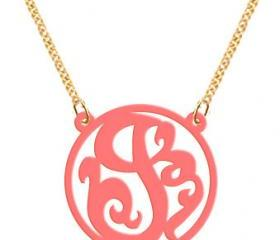 Monogram Necklace Acrylic Necklace Single Initial