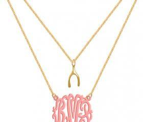 Monogram Necklace Wish Bone Custom Pink Initials Personalized H Love Jewelry Acrylic