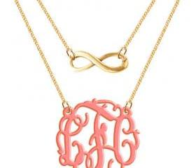 Monogram Necklace Acrylic Infinity Hand Made Custom Initials Personalized H Love Jewelry Acrylic