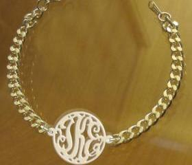 Monogram Bracelet Acrylic White Gold Plated Chain