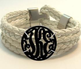 Monogram Acrylic Bracelet with White Leather