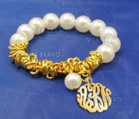 Monogram Bracelet Hand Made Custom Gold Mirror Initials Personalized K Love Jewelry Acrylic Bracelet Earrings Keychains