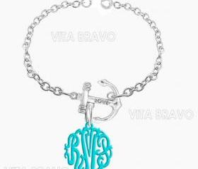 Monogram Bracelet Hand Made Custom Turquoise Initials Personalized K Love Jewelry Acrylic Bracelet Earrings Keychains