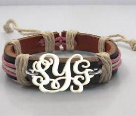 Monogram Bracelet Leathger Hand Made Custom Initials Personalized Jewelry Acrylic