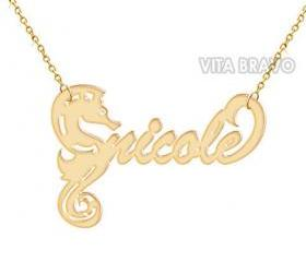 Name Necklace Sea Horse Gold Tone Metal Personalized Jewelry