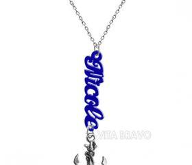 Name Necklace Anchor Hand Made Custom Initials Personalized H Love Jewelry Acrylic