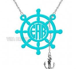 Monogram Necklace Anchor Hand Made Custom Turquoise Initials Personalized H Love Jewelry Acrylic