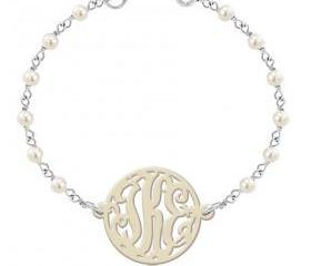 Monogram Bracelet White Pearl Tone Glass Beads Acrylic Necklace