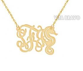 Monogram Necklace SEA HORSE Gold Tone Metal Personalized Jewelry